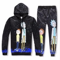 Casual Unisex Rick and Morty  Print Hoodies or Skinny Jeans (Sell by Separate) Anime Sweatshirt With Hat Spring Autumn Clothing