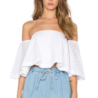 n / nicholas Broderie Off Shoulder Top in White