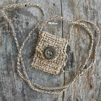 Glimmering Earth - Handmade Spirit Pouch with a Vintage 70s Button