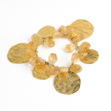 Kenneth Jay Lane Genuine Citrine Goldplated Coin Stretch Bracelet