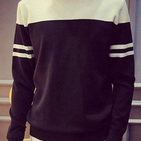 Stripe Jacquard Color Block Splicing Fitted Round Neck Long Sleeve Stylish Polyester Sweater For Men
