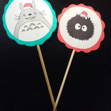 Christmas Totoro cupcake topper (12 pieces)