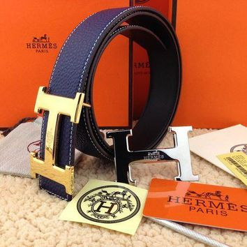 Hermes Trending Unisex Metal Smooth Buckle Dark Blue Leather Belt I