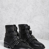 Buckled Stud Ankle Boots