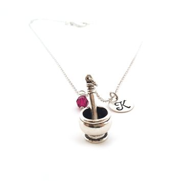 Mortar and Pestle Charm Necklace - Personalized Sterling Silver Jewelry