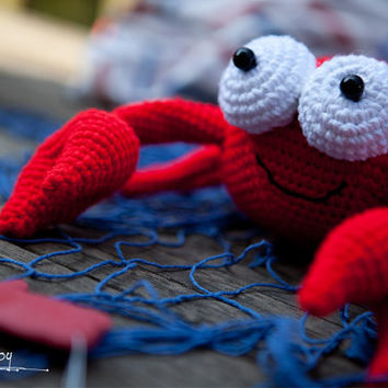 Bright Lively Crochet Crab with bulging eyes