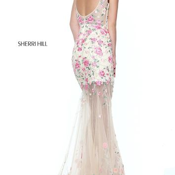 Long Embroidered Prom Dress with a Sheer Skirt