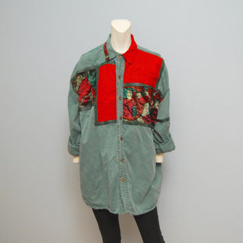 Vintage 1990's Men's Green and Red Denim Button Down Shirt with Velvet and Faux Leather Detail Size Large Hipster Grunge Bohemian