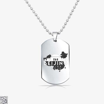 Beijing China Skyline Map, My City Tag Necklace