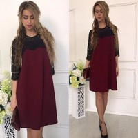 2017 Women Autumn Fashion Lace Stitching Straight Dress Fall Casual Loose Patchwork Three Quarter Sleeves O-neck Mini Dresses