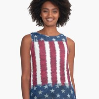 'Cool Distressed American Flag Inspired Design' A-Line Dress by Greenbaby