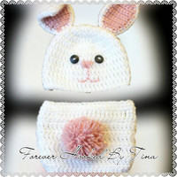 Baby Bunny Rabbit Diaper cover set, Easter photo prop, New Baby first Easter