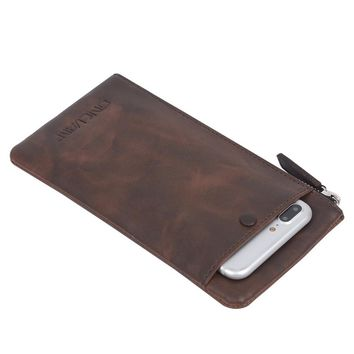 ONLVAN Wallets Vintage Split Leather Style Mens Wallets Handmade Purse Coffee Color Women Wallets Accept Customized Phone Bag