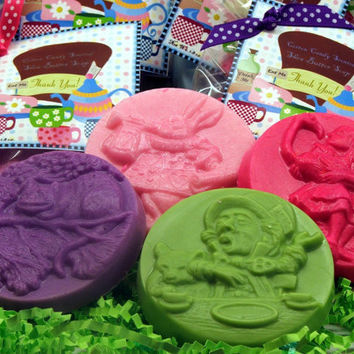 Set of 10 Alice in Wonderland Mad Hatter Party Favor Soaps for Tea Party Birthday Baby Bridal Shower