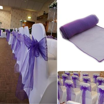 30Pcs/Lot Wedding Organza 18 x 275cm Organza Chair Cover Sashes Bow Sash Wedding Banquet Party Decoration Free Shipping
