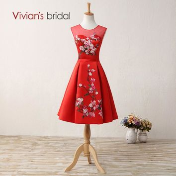 Short Red Chinese Style Evening Dress Party Dresses Satin with Embroidery Formal Evening Gown