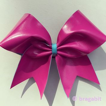 Pink and turquoise autograph cheer bow