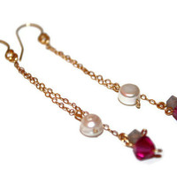 ROSE DARLING DANGLES / wire-wrapped earrings ft. freshwater pearls, swarovski crystals, 14k gold chain, wire & earhooks
