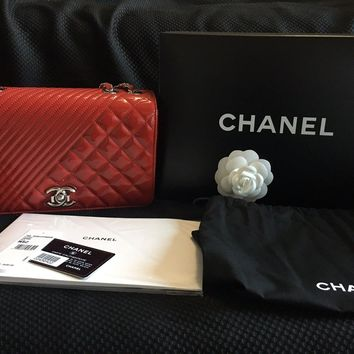 Authentic Chanel Patent leather Red flap bag with bag, box, tags and receipt