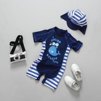 2018 Summer Baby Boy Swimwear One Pieces Boys Swimsuit UPF50 Cute Whale Print Stripes Children Swimsuits Bathing Suit Beachwear