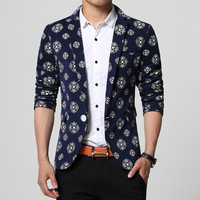 Quality Fashion Autumn Men Suit Jacket Printed Floral Blue White Man Blazer Plus size 4XL = 1958423300
