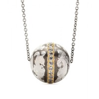 roberto marroni - niello engraved silver ball pendant necklace with grey diamonds and 18kt gold