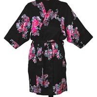 Women's Cathy's Concepts Personalized Floral Satin Robe,