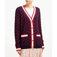 Gucci Fashion Women Casual Long Sleeve V Collar Knit Cardigan Jacket Coat