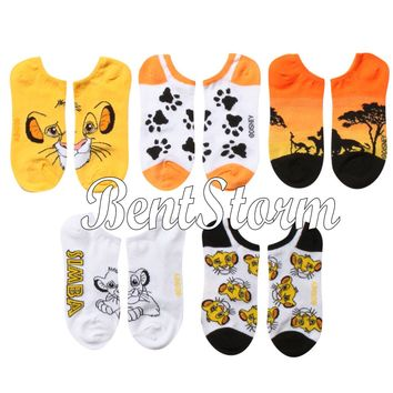 Licensed cool Disney The Lion King Simba themed designs Mix Match 5PR NO SHOW Socks 9-11 NEW