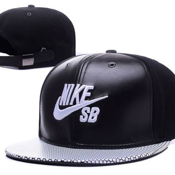 Black Leather Nike Baseball Cap Hat