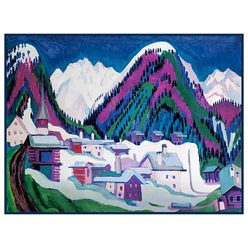 Simplified Winter in Davos Switzerland by Ernst Ludwig Kirchner Counted Cross Stitch Pattern