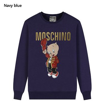 Moschino Autumn And Winter New Fashion Letter Pig Print Women Men Leisure Long Sleeve Top Sweater Navy Blue