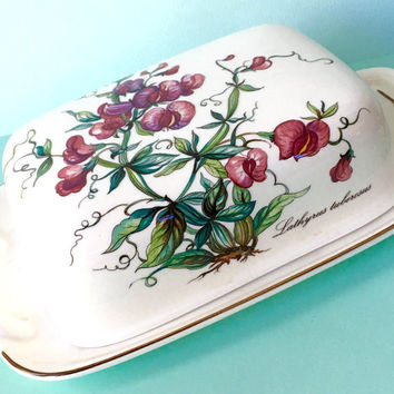 Botanica by Villeroy & Boch, Rectangular Covered Butter Large Butter Dish Lid, Butter Keeper, Vintage Wedding Gift, Replacement China