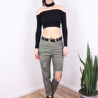 Distressed Olive Jeans