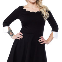 SMAK PARLOUR BLACK 3/4 SLEEVE SCALLOP DRESS