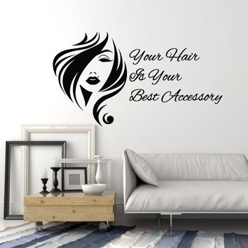 Vinyl Wall Decal Hair Salon Quote Woman Beauty Inspire Stylist Decor Stickers Mural (ig5281)