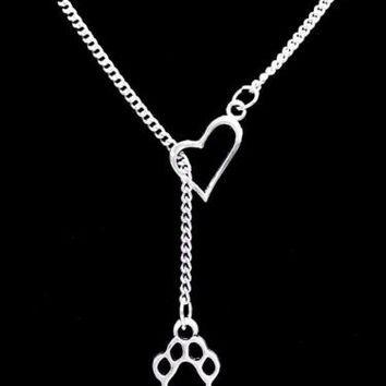Paw Print Dog Cat Animal Lover Fur Baby Heart Lariat Gift Necklace