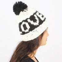 Hat Hand Made Love Knit Beanie Hat with PomPom from F.E.W.S Fashion