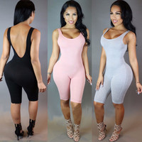 2016 Women Bodysuit Rompers Womens Jumpsuit Sleeveless Sexy Backless Full Length Bodycon Jumpsuits American Apparel Plus Size