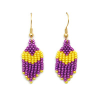 Yellow And Purple Kawaii Heart Dangle Earrings