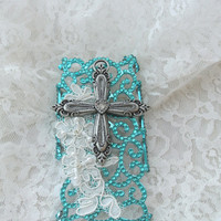 Cell phone case, IPhone 5, turquoise, western cross and lace, gypsy cowgirl, shabby, embellished Iphone case, Christmas, True rebel clothing