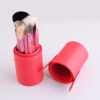 12pcs new arrival professional design makeup brush in tube red/purple/blue
