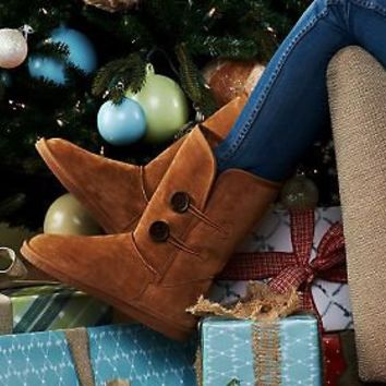 Lamo Suede Pull-on Boots with Faux Fur & Button Detail — QVC.com