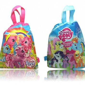 30pcs My Little Ponys Childrens Hot Cartoon Drawstring Backpack Bags,Non-Woven Fabric Multipurpose Bags 34*27CM Kids Party Gifts