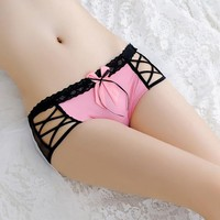 Red Lace Cut Out Bow Elastic Waist Fashion Short Pants