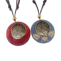 Vintage Tree of Life Wooden Necklace