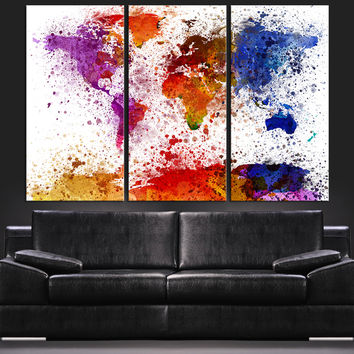 Paint Splash Watercolor World Map Canvas Art Print - Contemporary 3 Panel Triptych Colorful Ink Splatter Abstract Rainbow Colors Map