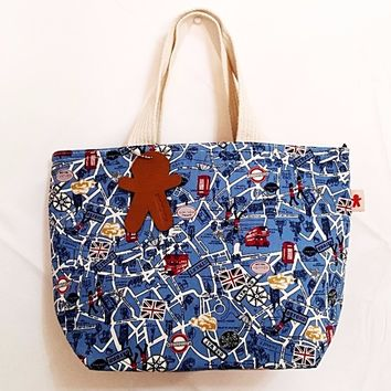 Pungman Cotton Tote Bag/Purse, Blue UK city map