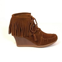 Minnetonka Lace Up Ankle Wedge Boot - Brown