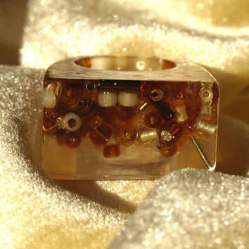 Resin Ring Amber Glow Glass Cocktail Bead Ring, Beautiful Statement Ring! ResinHeavenUSA